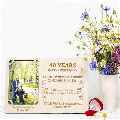 Wedding Anniversary Frames by 40th Wedding Anniversary Personalised Photo Frame By