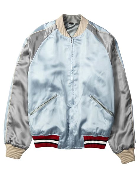 light blue satin bomber jacket lyst gucci reversible embroidered satin bomber jacket in
