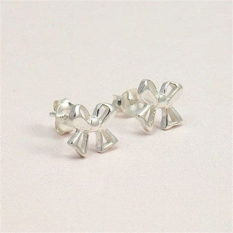 silver bow earrings gift boxed for niece bridesmaid etc
