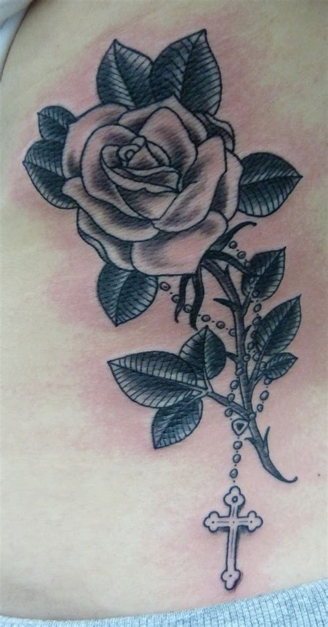 cross with a rose tattoo and cross search tattoos i want or