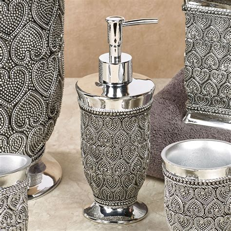 beaded silver bath accessories