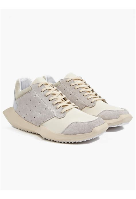 white rick owens sneakers rick owens x adidas s white tech runner sneakers in