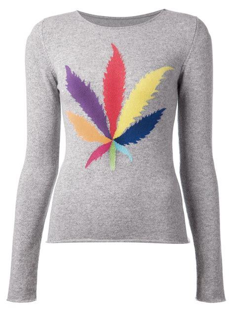 Sweater Leaf lucien pellat finet intarsia leaf sweater in gray