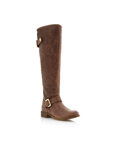 steve madden jupitr f heeled combat boots cognac leather