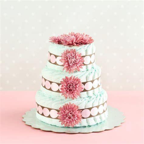 Three Tier Diaper Cake, Diaper Cake, Diaper Cake with Flowers