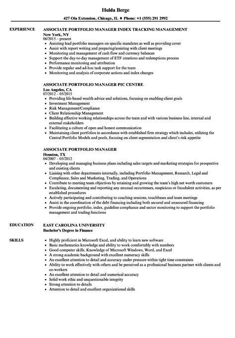Associate Portfolio Manager Sle Resume by Associate Portfolio Manager Sle Resume Accounting Volunteer Sle Resume Purchase Order