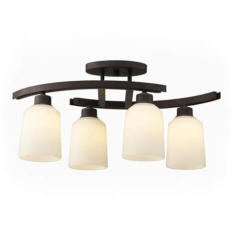 Kitchen Ceiling Lights Lowes Shop Canarm Quincy 4 75 In W 4 Light Rubbed Bronze Kitchen Island Light With Frosted Shade