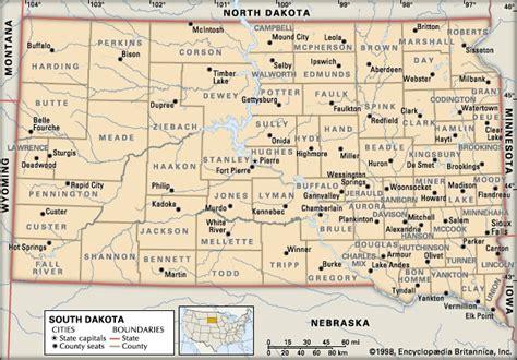 south dakota county map south dakota south dakota counties encyclopedia children s homework help