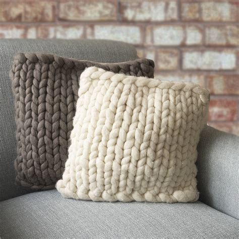 Pewter Living Room by Barnstaple Chunky Knitted Panel Cushion By Lauren Aston