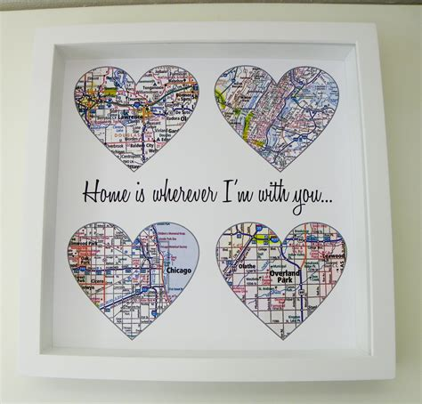 Wedding Gift Map by Map Personalized Engagement Gift Unique Wedding Gift