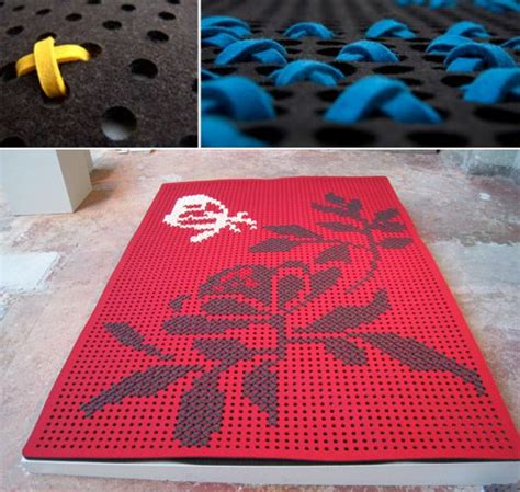 How To Make A Felt Rug by Laser Cut Felt Rug With Cross Stitched Designs Things I