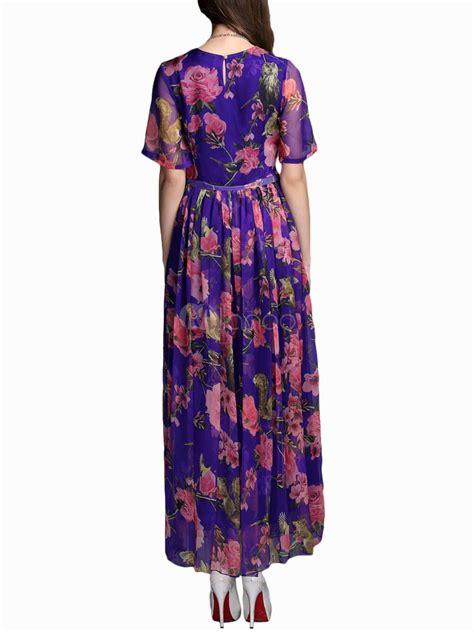 Robe Longue Soie Fleurie - 201 l 233 gante robe longue en soie violette imprim 233 e fleurie de