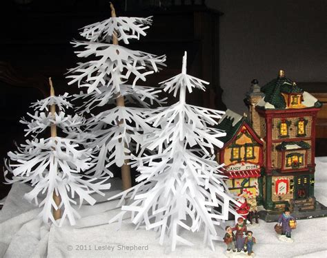christmas village tree display pattern make simple winter trees from cut paper snowflakes