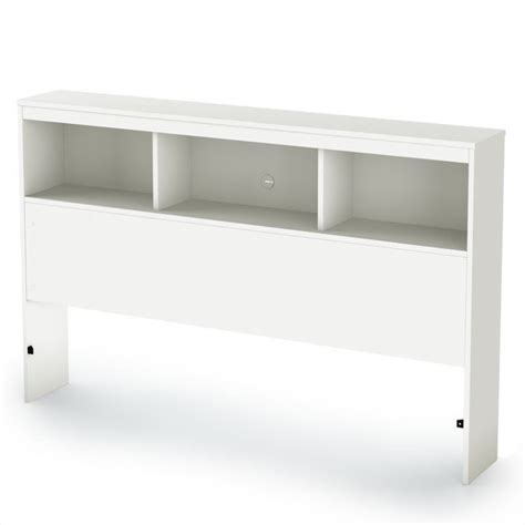 bookshelves headboard south shore affinato full bookcase pure white finish