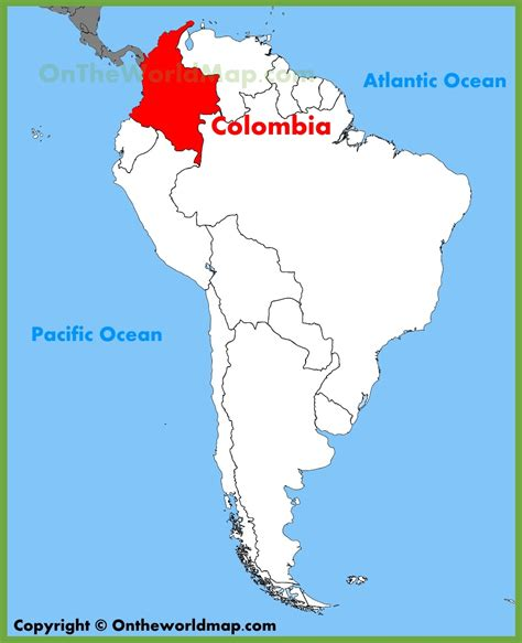 map of colombia in south america colombia location on the south america map