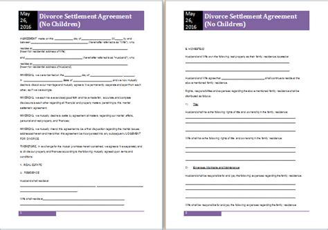 divorce settlement agreement template ms word divorce settlement agreement template free