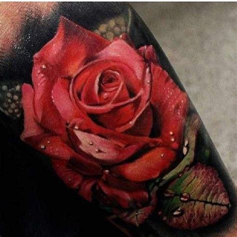 red roses tattoo hyper realistic done by mattjordantattoo