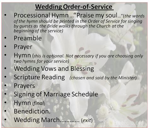 Wedding Service by Wedding Ceremony Order Of Service Www Imgkid The