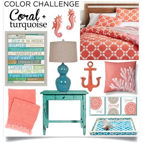 color challenge coral turquoise bedroom polyvore