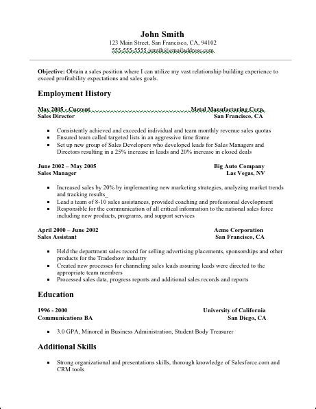 Free Sales Resume Templates by Resume Exles For Resume Badak