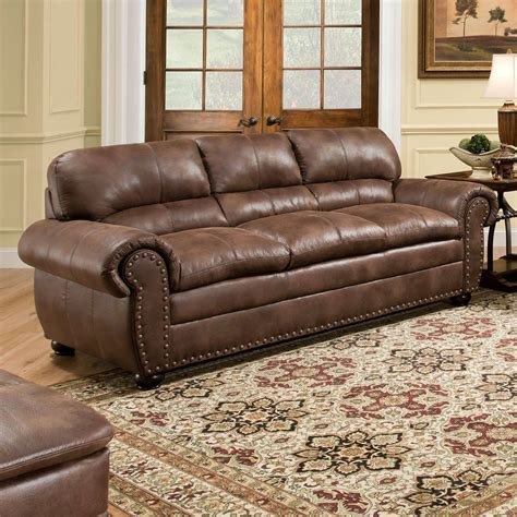 Leather Nailhead Sofa by Brown Leather Sofa Modern Loveseat Contemporary Faux