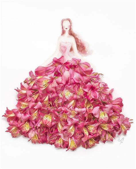 Dress Flowers drawings of wearing dresses made of real