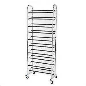 30 pair rolling adjustable shoe rack in chrome bed bath