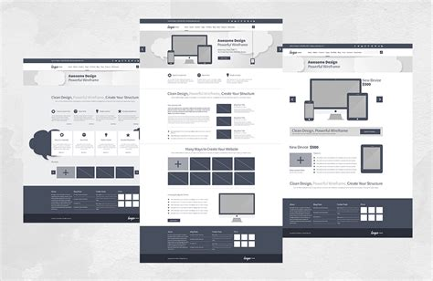 75 Layouts Webdesign Wireframe Kit Product Mockups On | 75 layouts webdesign wireframe kit product mockups on