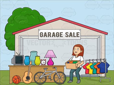 garage cartoon a female volunteer having a garage sale cartoon clipart
