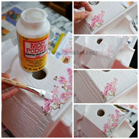 Tutorial Decoupage - haniela s cherry tree birdhouse napkin decoupage