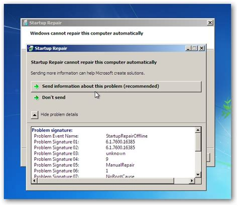 troubleshoot startup problems with startup repair tool in