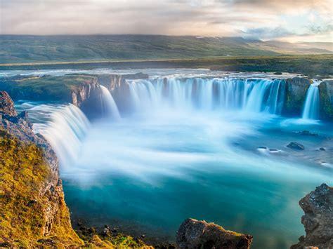 godafoss waterfall icelandic nice water   river