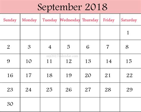 September 2018 Calendar Printable Monthly Calendars