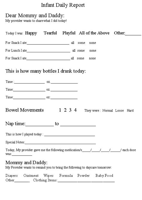daycare infant daily report template infant daily report home child care resources