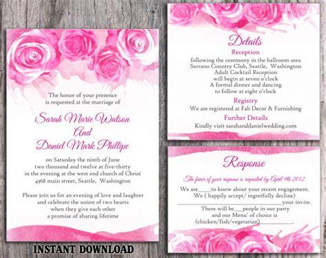 free pink wedding invitation templates diy watercolor wedding invitation template set editable