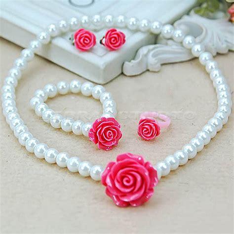 Pearl Kid 3 Warna by Child Pearl Flower Shape Necklace Bracelet Ring