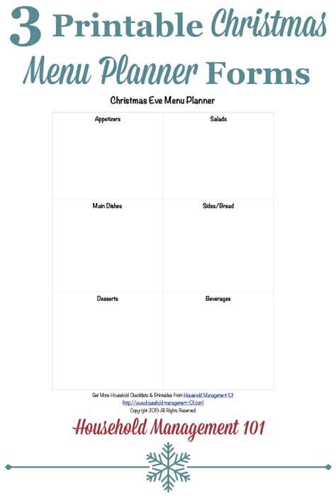 free printable christmas planner forms printable christmas menu planner forms