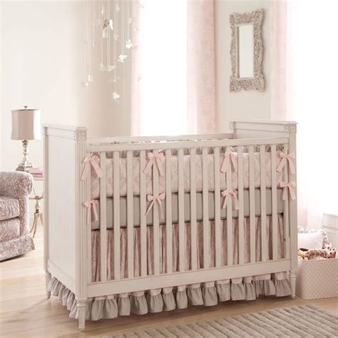 paris script crib bedding pink and gray baby girl crib