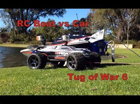 boat powered by car rc boat vs rc car tug of war 6 youtube