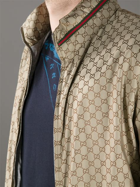 Jaket Fashion Gucci 5 gucci logo print bomber jacket in metallic for lyst