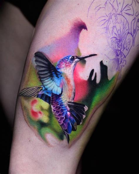 colorful hummingbird best tattoo design ideas