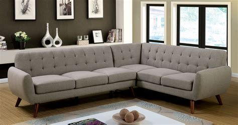 Furniture Of America 6144 Gray Mid Century Modern Sectional Modern Sofa
