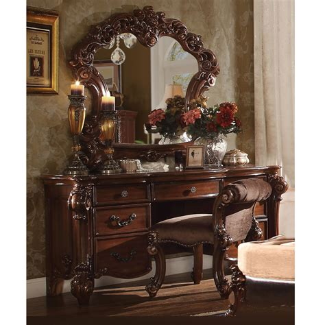 vendome bedroom luxury vanity table makeup desk mirror stool scroll wood cherry ebay