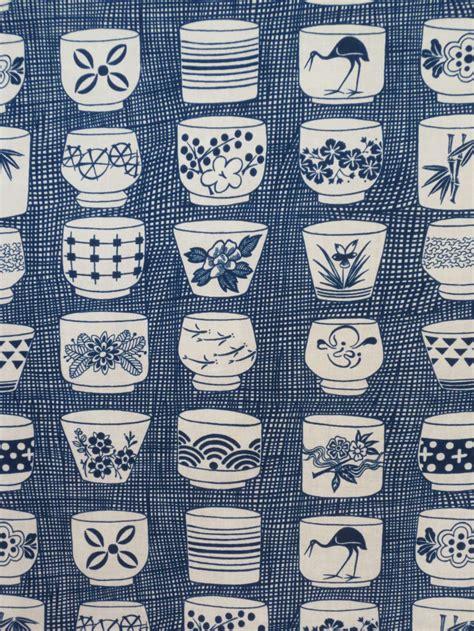japanese indigo pattern indigo japanese tea cup print pure cotton fabric from
