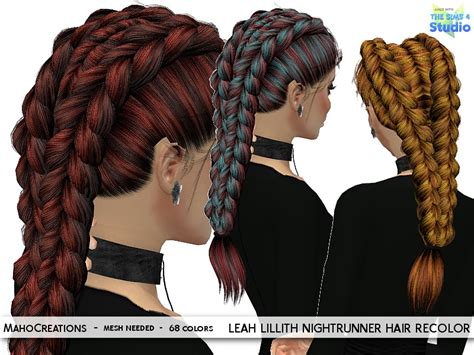 tsr braids sims 4 mahocreations leahlillith nightrunner hair recolor mesh