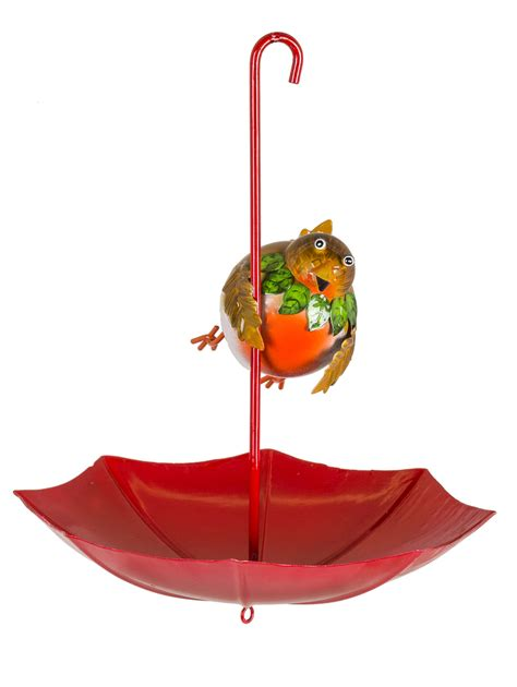 robin umbrella christmas bird feeder