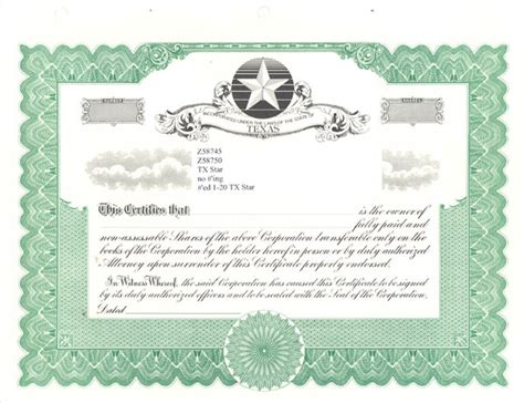 Blank Stock Certificate Template : Selimtd