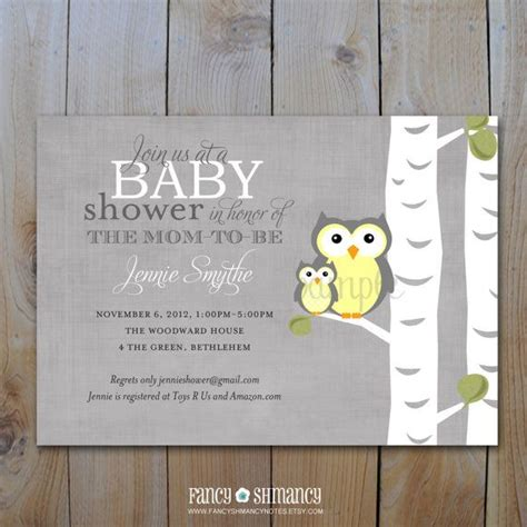 Yellow And Grey Owl Baby Shower by Yellow And Grey Owl Baby Shower Invitation Gender Neutral