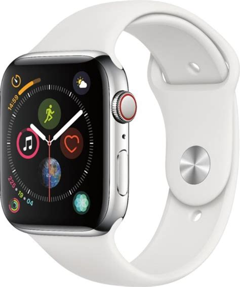 44mm Apple Series 4 Cellular by Apple Apple Series 4 Gps Cellular 44mm Stainless Steel With White Sport Band