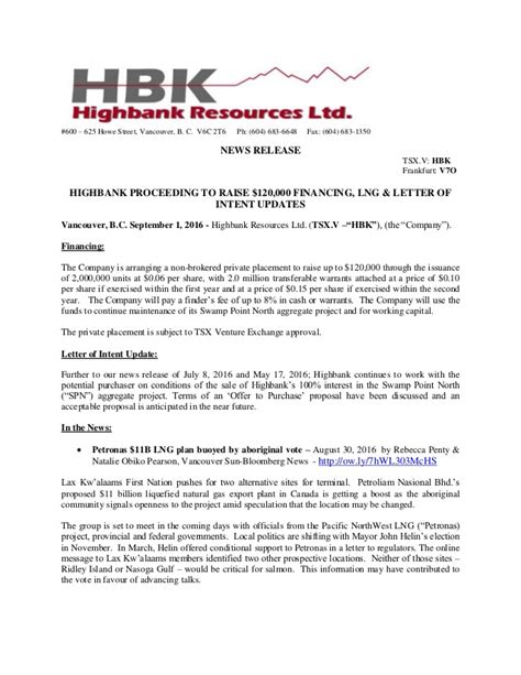 Finance Letter Of Intent Highbank Proceeding To Raise 120 000 Financing Lng Letter Of Inte